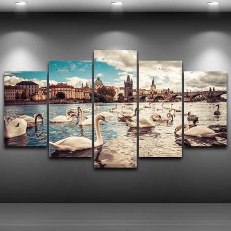 【お洒落な壁掛けアートパネル】 枠付き5点セット 白鳥の湖 海外 外国 ファブリックパネル インテリア m04638