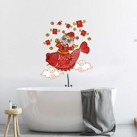 【ウォールステッカー】壁紙 DIY 部屋装飾 寝室 リビング インテリア 50×70cm イラスト 豚 福神 鯉 m02237