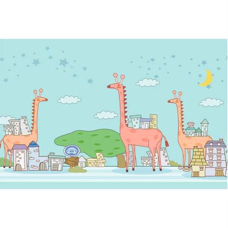 カスタム3D壁紙 1ピース 1㎡ キリン 不思議世界 キッズルーム 子供部屋 リビング 寝室 ウォールペーパー m05831