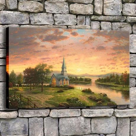 【お洒落な壁掛けアートパネル】 枠付き 40×60cm 町の風景 教会 夕焼け空 自然 絵画 部屋 インテリア m06332