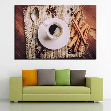 【お洒落な壁掛けアートパネル】 枠付き 40×60cm コーヒー豆 カフェ シナモン スプーン 絵画 部屋 インテリア m06369
