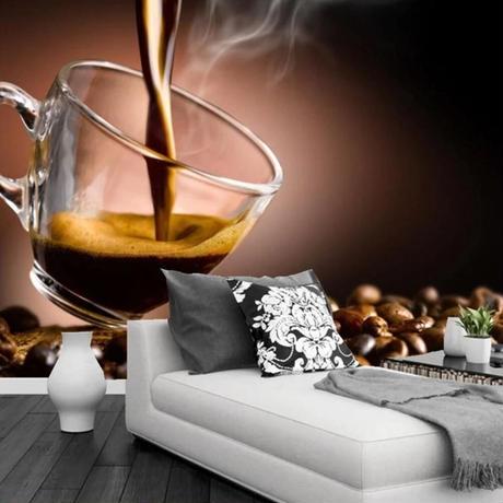 【カスタム3D壁紙】 1ピース 1m2 コーヒー豆 珈琲 カフェ レストラン キッチン キャンバス地 クロス張替 部屋 m05328