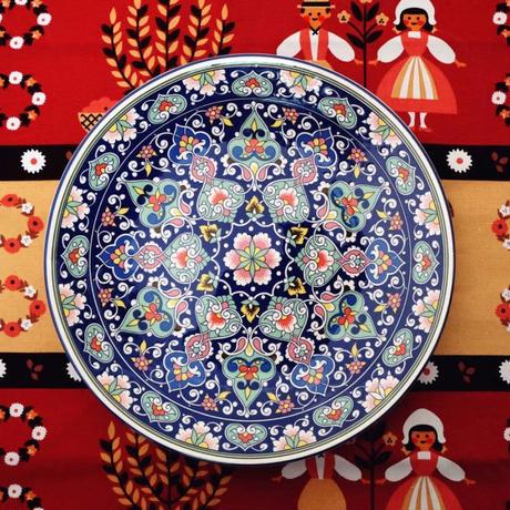新品送料込 皿 セラミック 食器 青×ピンク 多色 エスニック レトロ おしゃれ 高級  ホームパーティ 00827