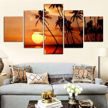 【お洒落な壁掛けアートパネル】 小さめサイズ5点セット ココナッツの木 サンセットビーチ ファブリックパネル DIY インテリア m04946