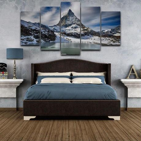 【お洒落な壁掛けアートパネル】 5点セット 雪山風景 冬 写真 絵画 ファブリックパネル インテリア m04786