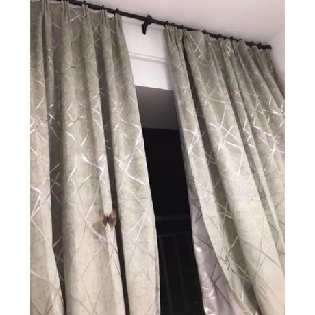 ☆ドレープカーテン☆ モダンライン コーヒー色 W100cmxH250cm 高さ調節可能 フックタイプ 2枚セット ホテル m05734