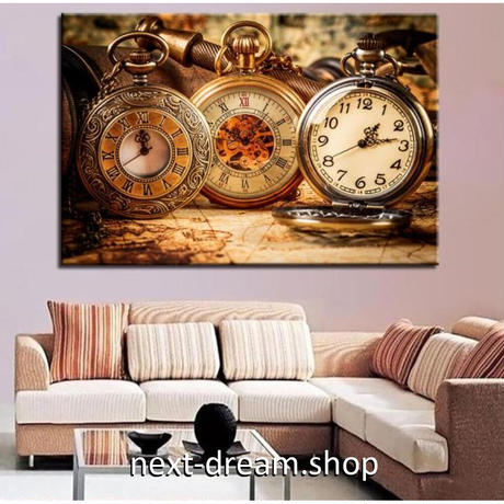 【お洒落な壁掛けアートパネル】 枠付き 40×60cm 懐中時計 ローマ数字 レトロ 絵画 部屋 インテリア m06379