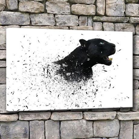 【お洒落な壁掛けアートパネル】 枠付き 40×60cm 黒ヒョウ デジタルアート 動物 絵画 部屋 インテリア m06327