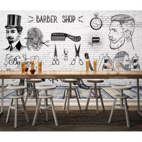 【カスタム3D壁紙】 1ピース 1m2 ファッション 美 BARBER サロン レンガ キャンバス地 クロス張替 部屋 m05324