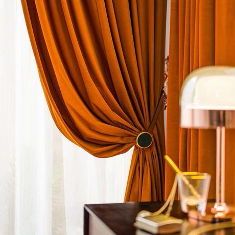 ☆ドレープカーテン☆ 無地 オレンジ ベルベット W100cmxH250cm 高さ調節可能 フックタイプ 2枚セット ホテル m05731
