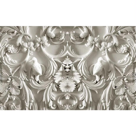 壁紙 8D素材 立体視覚 彫刻 白 1ピース 1㎡ サイズカスタマイズ可能 部屋 リビング ショップ 店舗 m06129