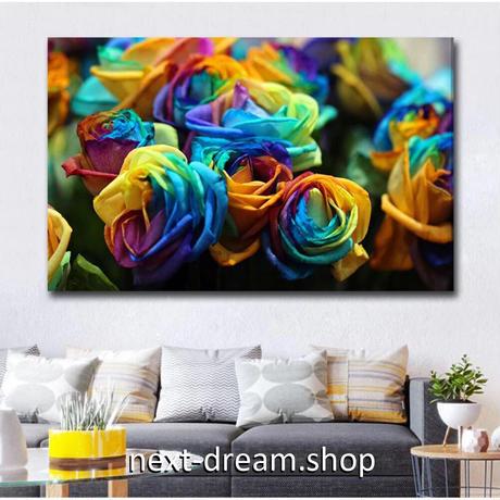 【お洒落な壁掛けアートパネル】 枠付き 40×60cm カラフルなバラ 花 薔薇 写真 部屋 インテリア m06339