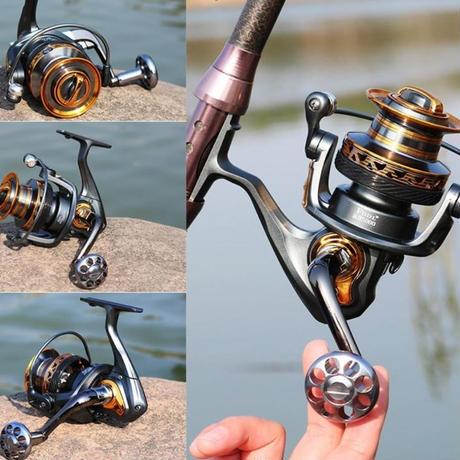 新品 スピニングリール 釣り道具 フィッシング 高速 14BB 高性能ベアリング 鯉釣り 黒×ゴールド 5000 6000 7000番 m02014