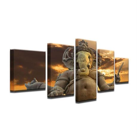 ☆壁掛けアートパネル☆ 20cm枠5点セット インド チベット 仏教 ガネーシャ 仏像 象 お洒落 インテリア m05515
