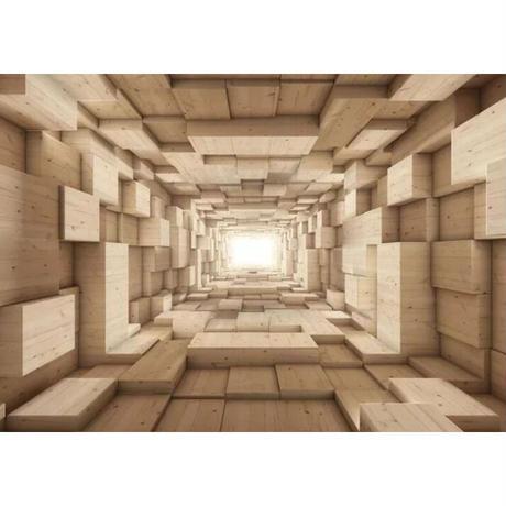 【カスタム3D壁紙】 1ピース 1m2 立体空間 木製の部屋 木の壁 DIY キャンバス地 クロス張替 部屋 m05308