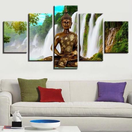 ☆壁掛けアートパネル☆ 20cm枠5点セット 仏 瞑想 滝 自然風景 お釈迦さま 宗教絵画 お洒落 インテリア m05544