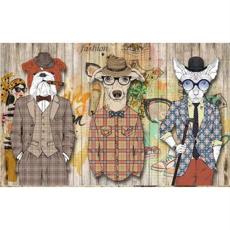 【カスタム3D壁紙】 1ピース 1m2 犬 スーツ ペットショップ キャンバス地 サロン クロス張替 子供部屋 m05292