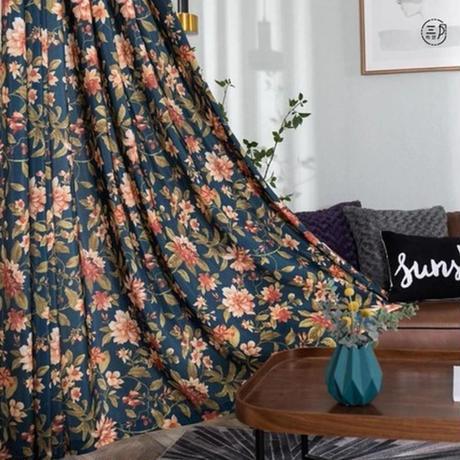 ☆ドレープカーテン☆ 花柄 レトロ W100cmxH250cm 高さ調節可能 フックタイプ 2枚セット ホテル m05712
