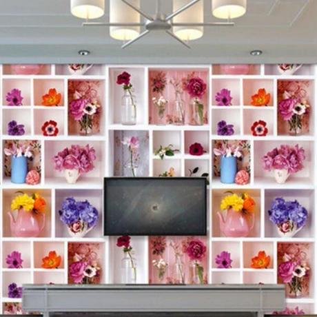壁紙 棚デザイン 花 フラワー 1ピース 1㎡ サイズカスタマイズ可能 部屋 リビング ショップ 店舗 m06132