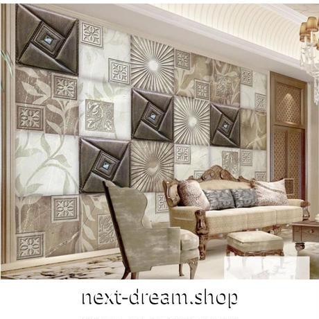 【カスタム3D壁紙】 1ピース 1m2 ブロックタイルデザイン レトロ 寝室 レストラン キャンバス地 クロス張替 部屋 m05319