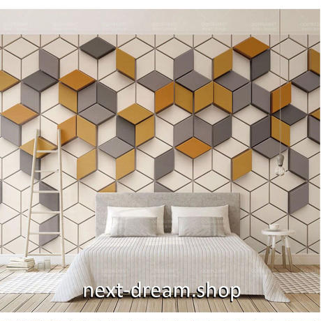 壁紙 キューブ 六角形 立体デザイン 1ピース 1㎡ サイズカスタマイズ可能 部屋 リビング ショップ 店舗 m06116