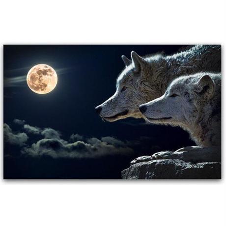 【お洒落な壁掛けアートパネル】 枠付き 40×60cm 2頭の狼 満月 ウルフ 夜 絵画 部屋 インテリア m06367