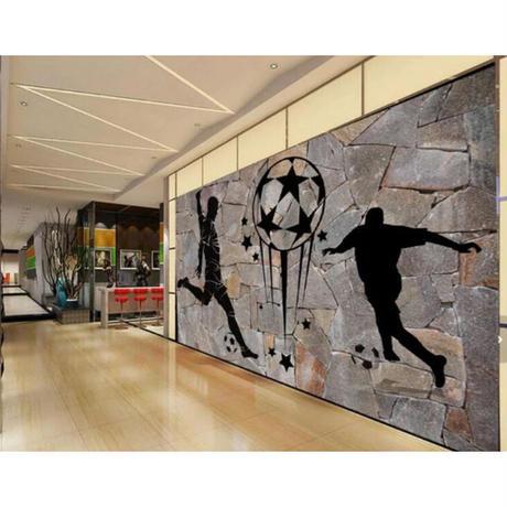 【カスタム3D壁紙】 1ピース 1m2 石レンガ 落書き サッカー スポーツバー キャンバス地 クロス張替 部屋 m05317
