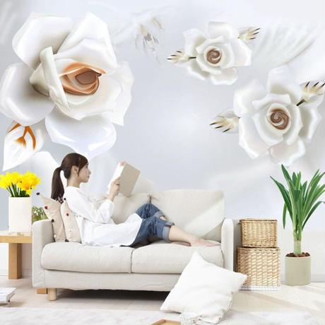 3D 壁紙 1ピース 1㎡ 立体アート 白い薔薇 ヨーロッパ DIY リフォーム インテリア 部屋 寝室 防湿 防音 h03218