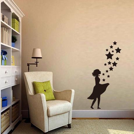 【ウォールステッカー】壁紙 DIY 部屋 シール 寝室 リビング インテリア 38×42cm シルエット メルヘン 女の子 星 m02319
