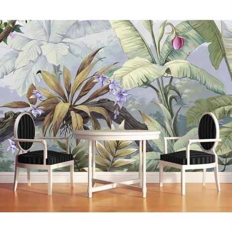 【カスタム3D壁紙】 1ピース 1m2 植物 バナナの葉 絵画 トロピカル  カフェ 店 キャンバス地 クロス張替 部屋 m05334