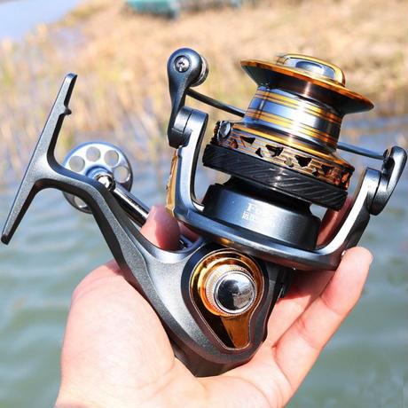 新品 スピニングリール 釣り道具 フィッシング 鯉釣り 高速 高性能ベアリング 黒×オレンジ 4000 / 5000 / 6000 / 7000番 m02000