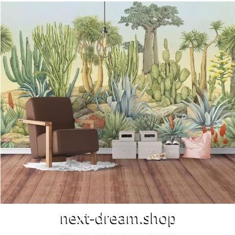 【カスタム3D壁紙】 1ピース 1m2 植物 レトロ 手書き風 サボテン  カフェ 店 キャンバス地 クロス張替 部屋 m05332