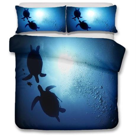 【掛け布団カバー3点セット】 ウミガメ 海中世界 ブルー ダブルサイズ用 掛け布団カバー 枕カバー×2 おしゃれ寝具 m04450