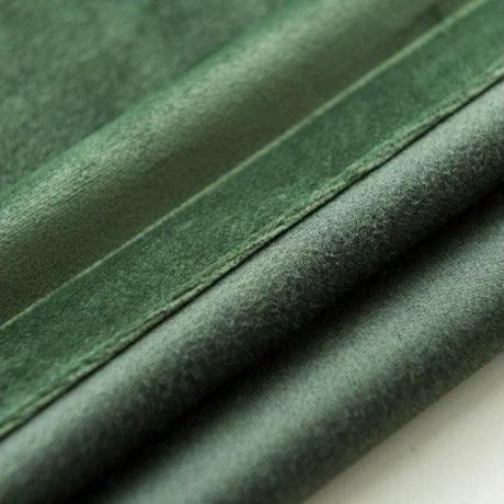 ☆ドレープカーテン☆ 無地 深緑 ベルベット W100cmxH250cm 高さ調節可能 フックタイプ 2枚セット ホテル m05724