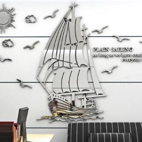 【ウォールステッカー】 3D壁紙 船 かもめ 海 アクリル 銀色 シルバー サイズ:150×101cm 張付簡単シールタイプ m03554