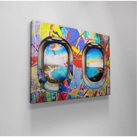 【お洒落な壁掛けアートパネル】 枠付き 40×60cm カラフル 飛行機からの眺め 海 絵画 部屋 インテリア m06345