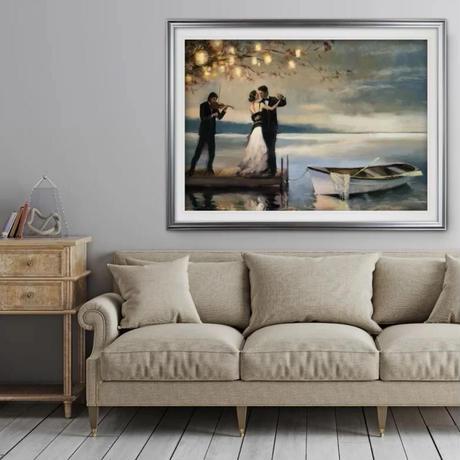 【お洒落な壁掛けアートパネル】 枠付き 30×42cm 湖 ダンス タキシード ドレス 絵画 部屋 インテリア m06337
