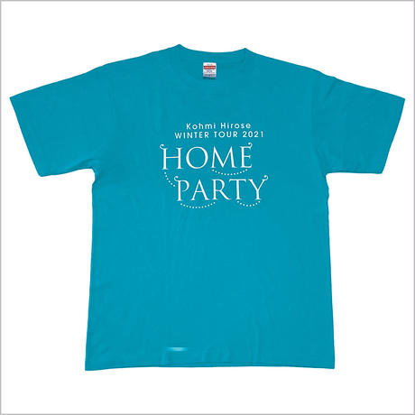 """""""HOME PARTY""""ロゴTシャツ / ターコイズブルー"""