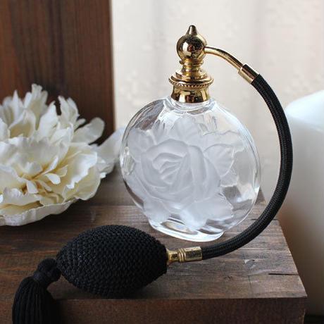 ドイツ製クリスタルボトル バルブアトマイザー 600537(フロスト薔薇)【香水 フレグランス アロマ 詰替え容器 インテリア】
