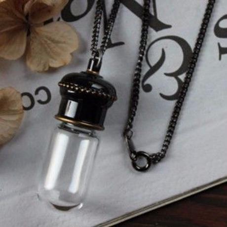 メタル カプセルボトルネックレス 76cm ブラック 日本製(穴開きor密閉栓キャップ)【香水 フレグランス アロマ 詰替え容器 ボトル】