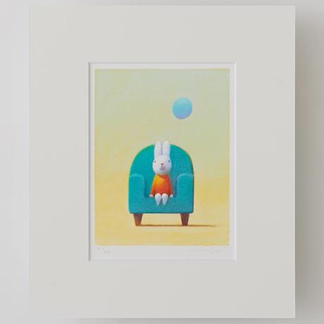 ジクレー版画「青い風船」(フレーム無し・ブックマット仕様)