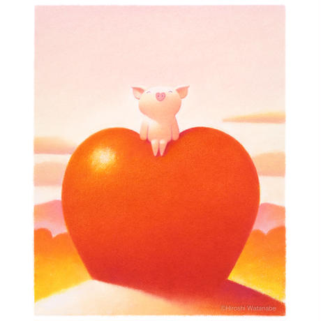 ジクレー版画「リンゴ色の思い出」(フレーム無し・ブックマット仕様)