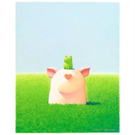 ジクレー版画「草の香りと珍しい友達」(フレーム無し・ブックマット仕様)