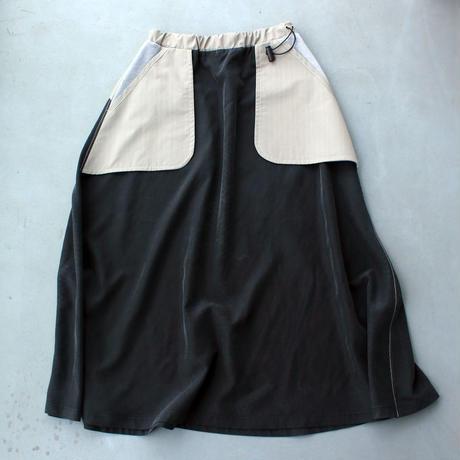 ストライプパジャマスカート/black×gray