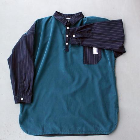 ストライプパジャマシャツ/green×navy