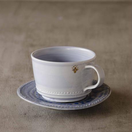 クロス付きソーダ-釉のカップ&ソーサー ブルー