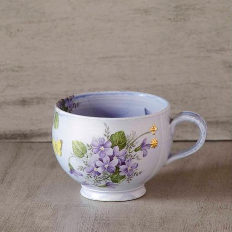 スミレと蝶のマグカップ