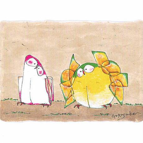 ポストカード ペン画「ふくろうの一生」 5枚セット