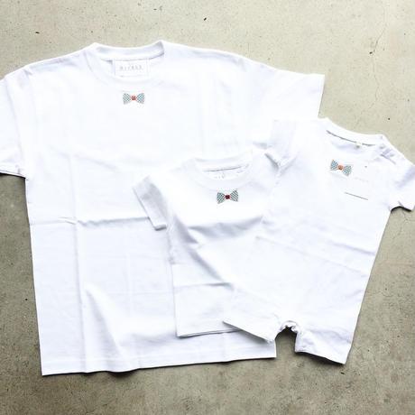 RIBON BLUECHECK TシャツWHITE  LADYS/MENS