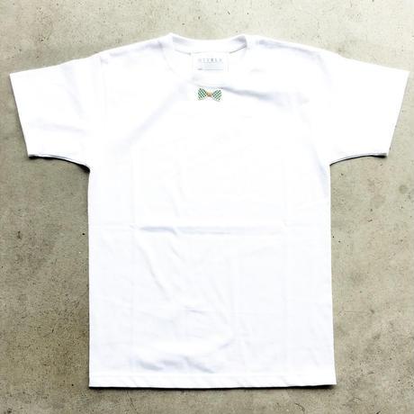 RIBON GREENCHECK TシャツWHITE  LADYS/MENS